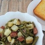 Crockpot Green Beans and Kielbasa is a great family side dish or main meal. So easy to make and a great comfort food