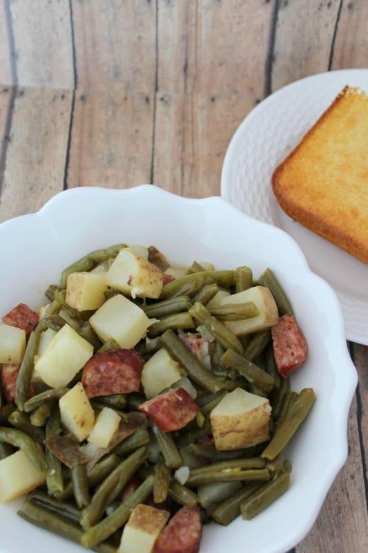 Crockpot Green Beans and Kielbasa