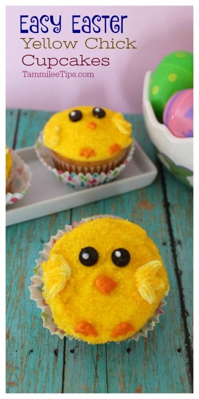 Easy Easter Cupcakes Yellow Chicks! Great Spring celebration dessert not just for kids. So easy to make they use a boxed cake mix! #recipe #cupcake #easter