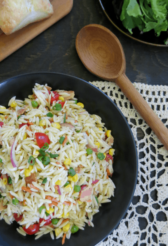 Orzo Pasta Salad with Bacon & Parmesan Vinaigrette Recipe
