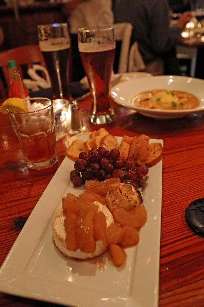 Fruit and Cheese and Shrimp and Grits at Crescent City Brewhouse