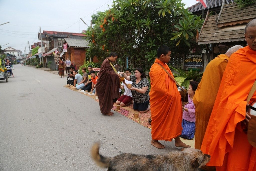 buddist monk northern Thailand gathering offerings 2