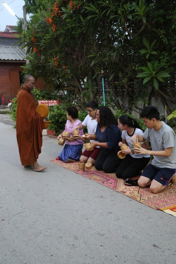 giving offerings in Northern Thailand