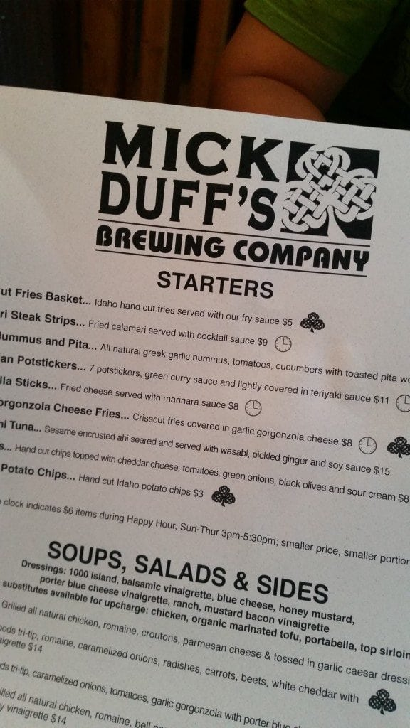 Mick Duffs Menu Sandpoint