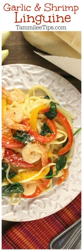 Garlic Shrimp Linguini Recipe perfect for family dinner! So easy to make and tastes so good! Peppers, Spinach, Garlic and Olive Oil! Also known as Garlic Shrimp Linguine