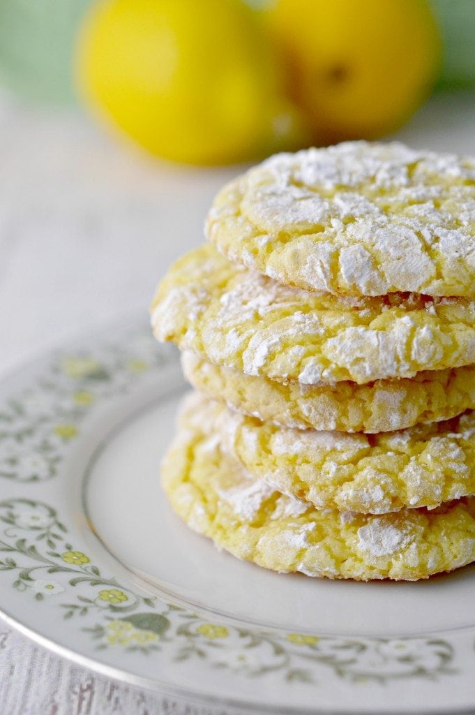 Lemon Crinkle Cookies With Lemon Cake Mix