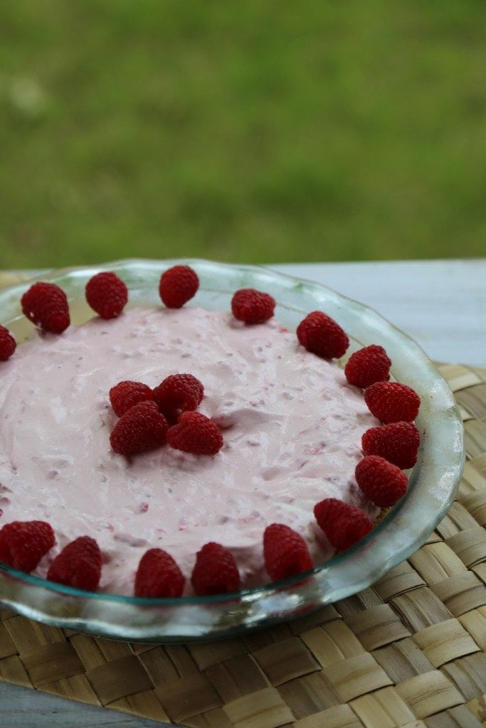 Easy homemade Raspberry No Bake Pie Recipe perfect for summer barbecues, picnics, birthday parties or family dessert. So easy to make!