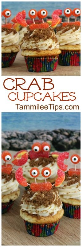 How to make seriously oh so cute Crab Cupcakes! Perfect for Under the Sea Ocean birthday parties, baby showers, Moana, Little Mermaid parties