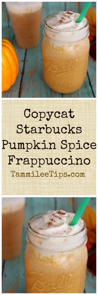 How to make a Copy Cat Starbucks Pumpkin Pie Frappuccino Recipe! Enjoy your favorite coffee shop treat at home! Easy to make, save money and you don't have to leave the house!