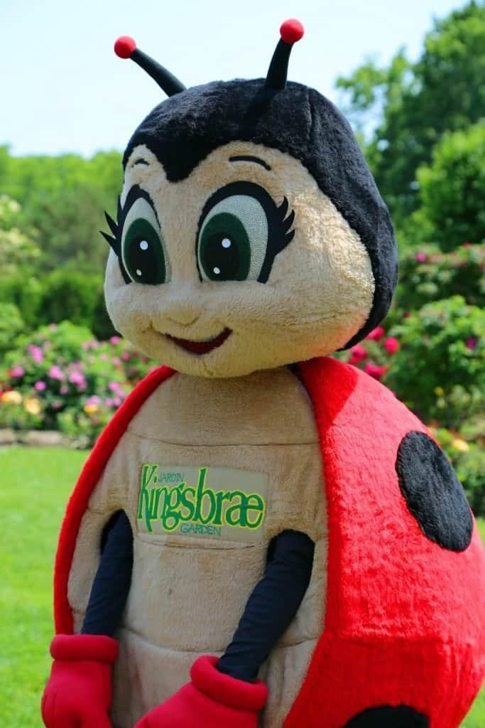 Ladybug mascot at Kingsbrae Gardens