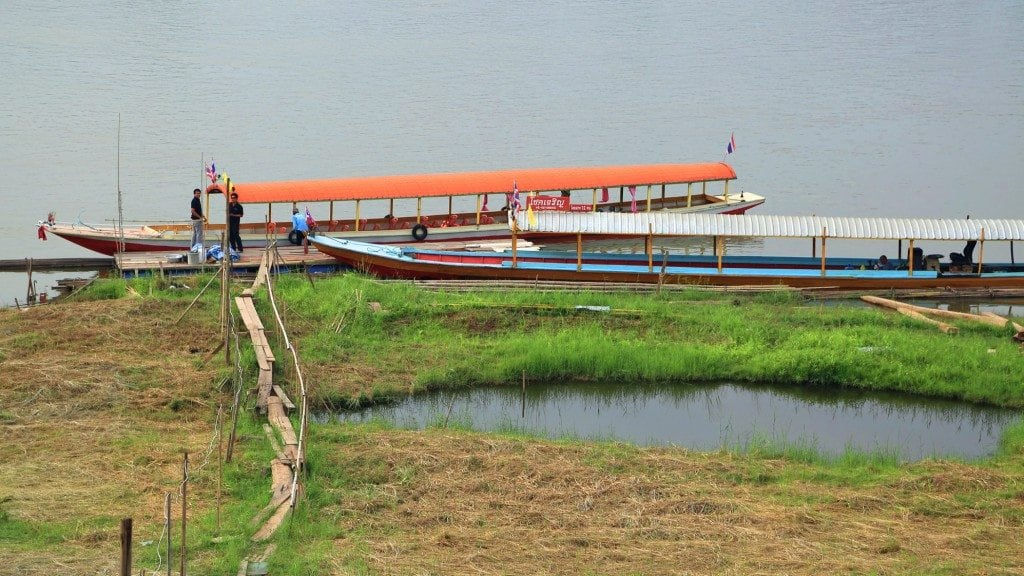 Long boat on the mekong river