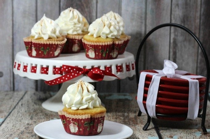 Eggnog Spice Cupcakes with Eggnog Frosting