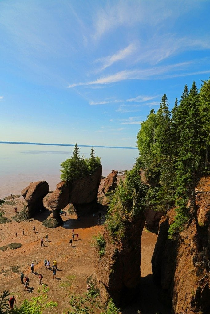 Looking down from the observation deck at Hopewell Rocks New Brunswick