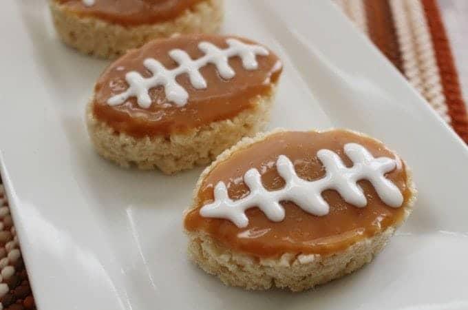 Salted Caramel Rice Krispies Football Treats!
