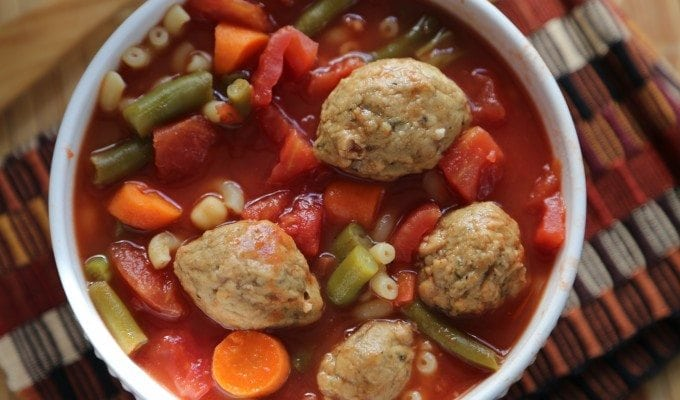 See how I surprised my family with this Crock Pot Vegetarian Meatball Soup Recipe!