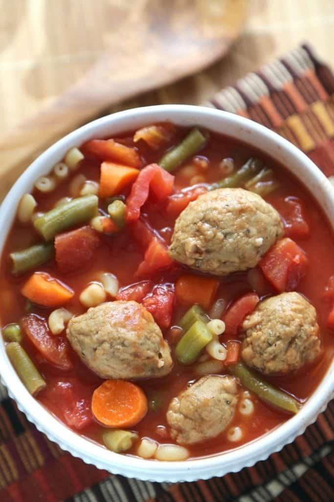Crock Pot Vegetarian Meatball Minestrone Soup