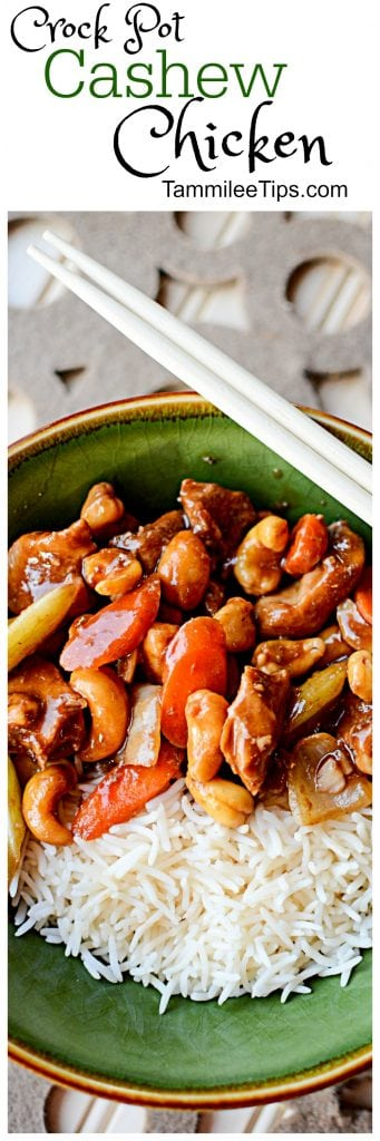 Easy Crock Pot Cashew Chicken Recipe! The crockpot slow cooker makes this recipes easy, healthy, and delicious! Not to spicy but you can easily make it spicier if you prefer.
