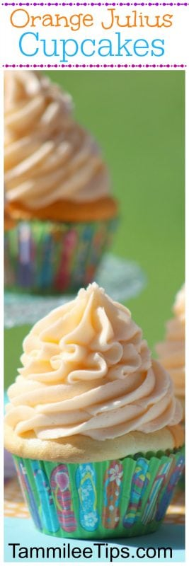 Creamsicle Orange Julius Cupcakes Recipe are the perfect sweet treat! Made from scratch these cupcakes are great for birthday parties, baby showers, bridal showers, picnics, barbecues, and summer fun
