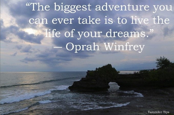 The biggest adventure you can ever take is to live the life of your dreams.""