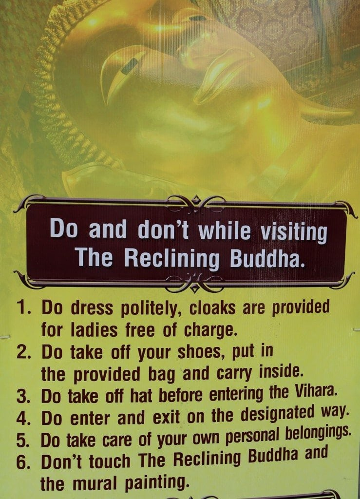 do's and don't while visiting the reclining Buddha