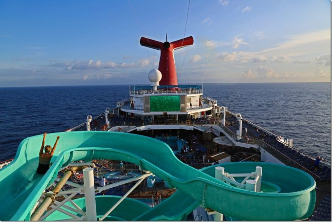 hands up on waterdlide Carnival Conquest