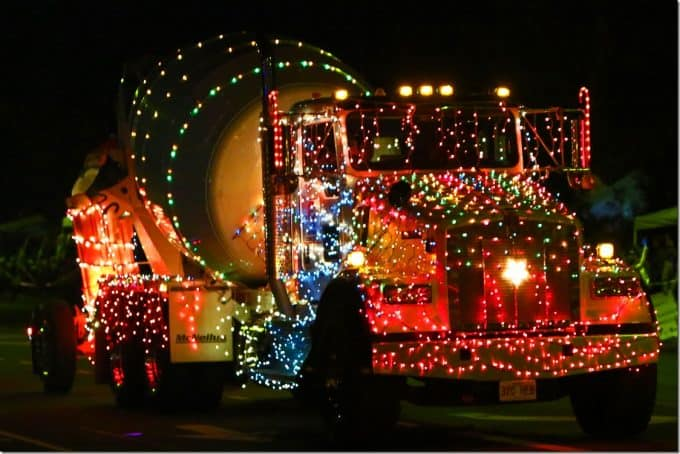 Cement truck decorated at Waimea Christmas Parade