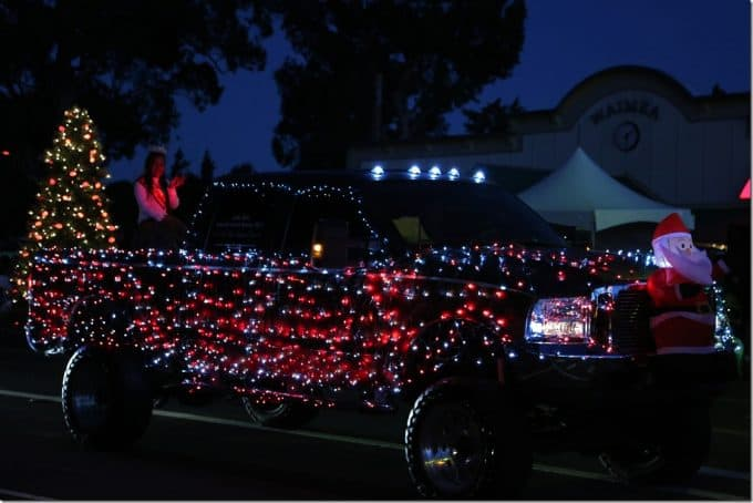 Decorated pickup truck in Waimea Christmas Parade