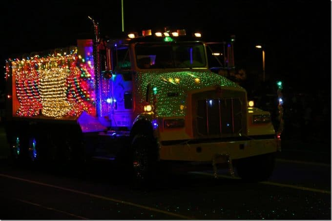 Dump truck all light up with lights at Waimea Hawaii Christmas Parade