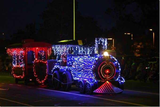 Train decorated at Waimea Christmas Parade