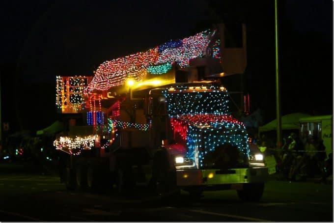 beautifully decorated semi truck at Waimea Christmas Parade