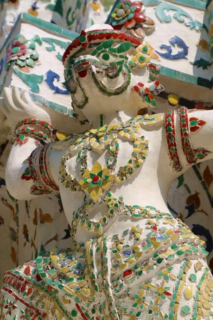 closeup of statue in Stupa of Wat Arun