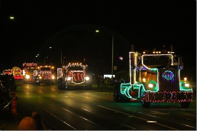 decorated semi trucks driving down main street Waimea Hawaii Christmas Parade