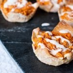 Buffalo Chicken Wonton Appetizer Recipe! This recipe uses crock pot buffalo chicken and ranch dressing! These appetizer bites are perfect for a football party, birthday party or any other parties you want a delicious appetizer recipes!