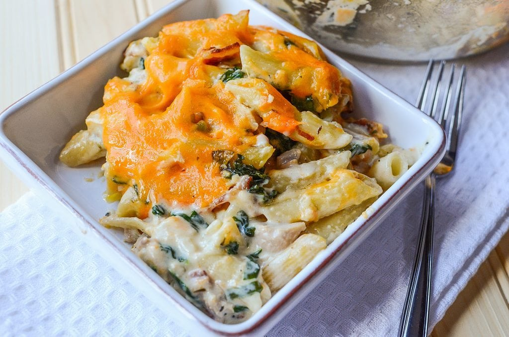 Easy Cheesy Chicken Pasta Casserole Recipe! Great for family dinners and wonderful leftovers! This recipe is a family favorite!