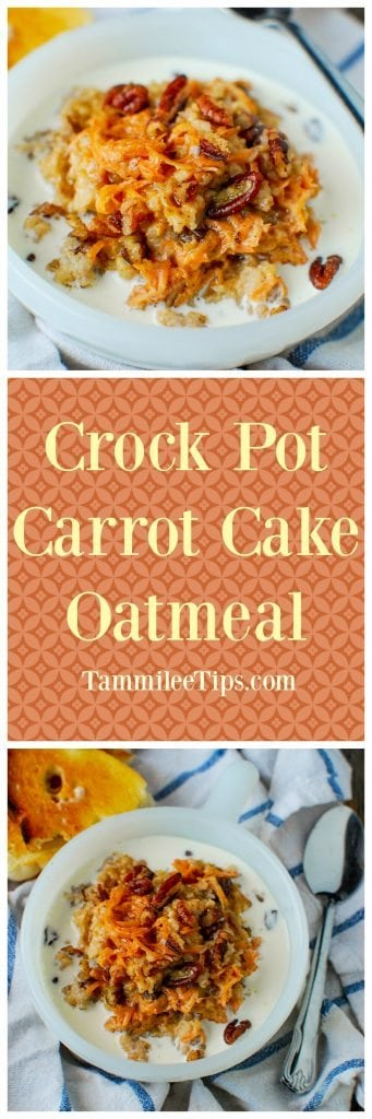 Crock Pot Carrot Cake Oatmeal Recipe! This slow cooker breakfast recipes is an amazing way to start the day! You can easily make this recipe overnight with steel cut oats! Perfect for a crowd, healthy breakfast, with brown sugar, carrots and pecans!