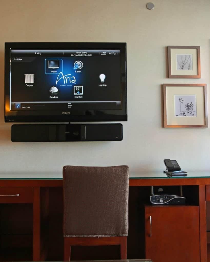 tv in living room tower suite Aria Las Vegas