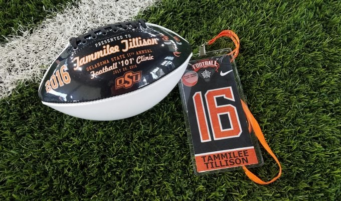 Taking the field at Football 101 at Oklahoma State University in Stillwater, Oklahoma