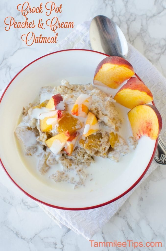 Crock Pot Peaches and Cream Oatmeal Recipe is an easy overnight slow cooker recipe. Using steel cut oats, peaches and cream the entire family will love this recipe. Great easy breakfast!