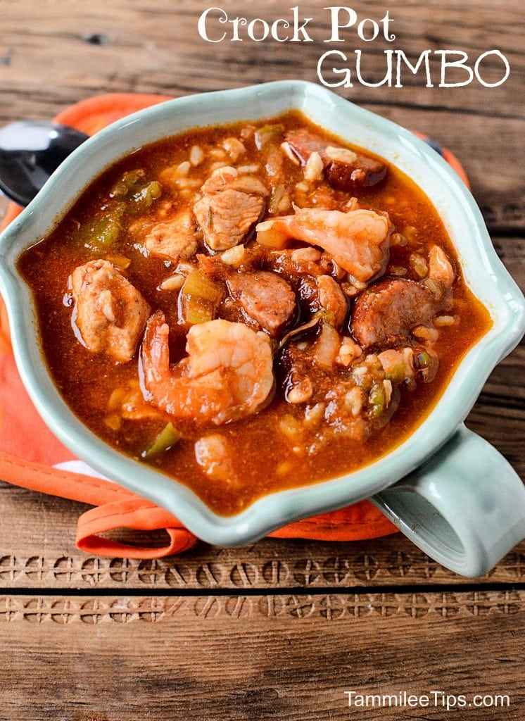 Super easy crock pot gumbo recipe the entire family will love! This cajun slow cooker recipe includes sausage, chicken and shrimp! Best crock pot recipe you will try!