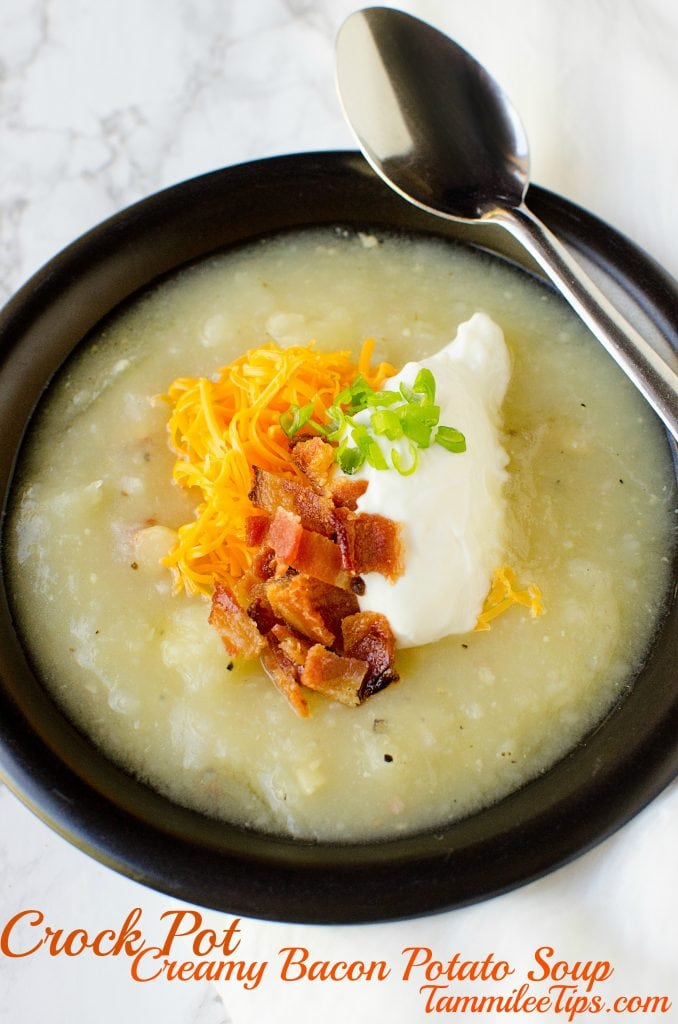 Super easy Crock Pot Creamy Potato Soup Recipe with Bacon! This slow cooker recipe is perfect for family dinners, comfort food, winter meal, Made from scratch yet easy to make!