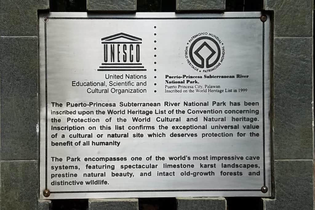 unesco-sign-at-underground-cave-tour-philipines