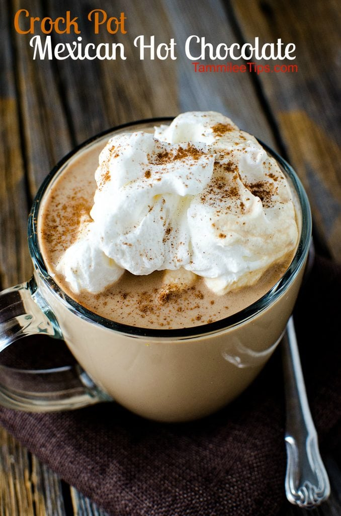 Super easy to make Crock Pot Mexican Hot Chocolate Recipe! Super easy homemade hot chocolate made in the slow cooker the entire family will love!