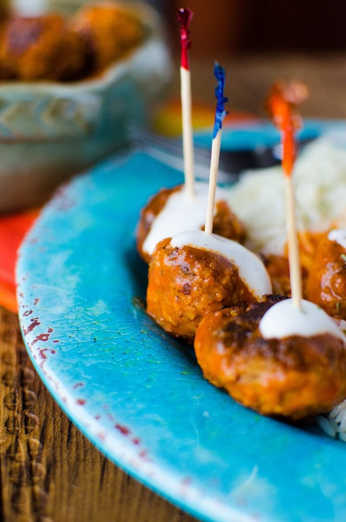 Simple Crock Pot Slow Cooker Buffalo Chicken Meatball Recipe is perfect for your Super Bowl Football Parties or any day you need a good appetizer recipe. These crockpot meatballs are also great over rice for dinner.