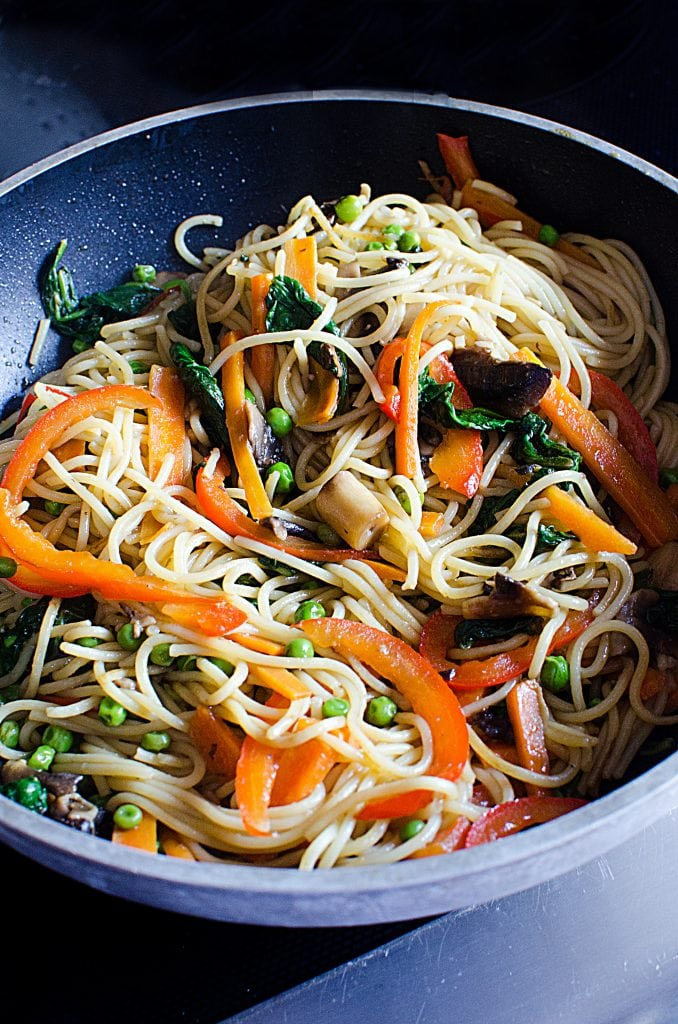 Super easy Lo Mein Recipe you will love! Filled with vegetables, easily add in chicken or beef if desired.