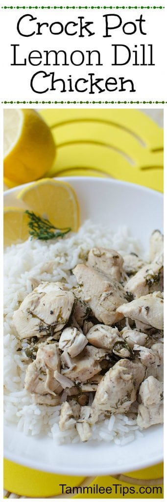 Slow Cooker Crock Pot Lemon Dill Chicken Recipe makes great family dinners! Use leftovers in salad for lunch the next day. Serve with pasta or rice.