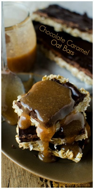 Easy Banana Chocolate Caramel Oat Bars Recipe! Only a few ingredients needed to make this delicious recipe perfect for school lunches, office lunch or a sweet treat. #snack #dessert #recipe #chocolate #caramel