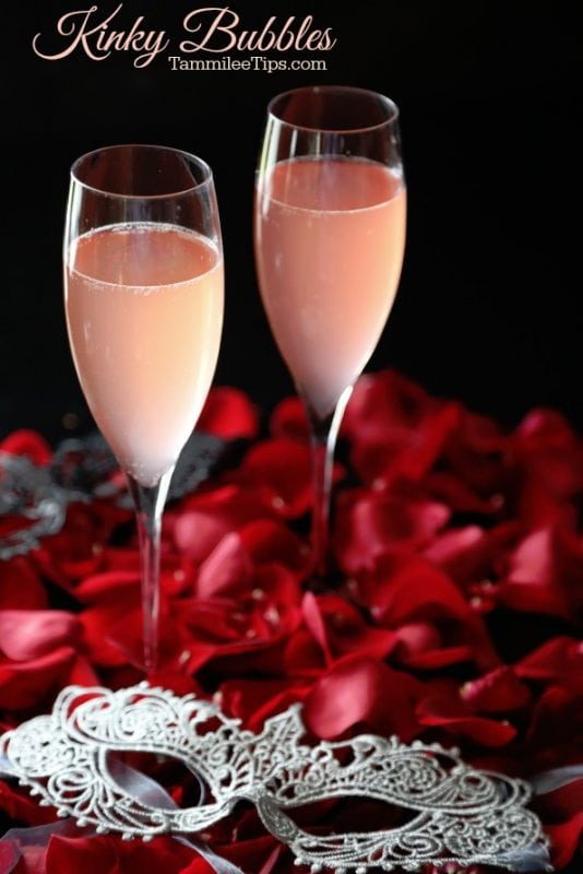 Celebrate Girls Night In, Valentines Day, or a romantic date night with this delicious pink Kinky Bubbles Cocktail Recipe!