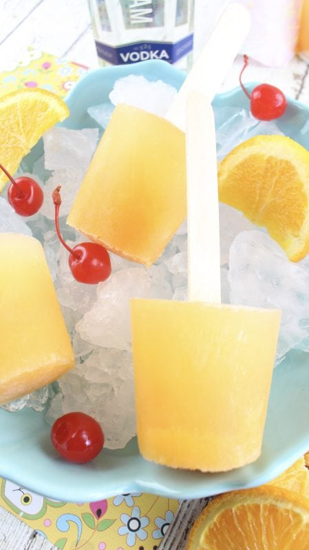 boozy adult screwdriver cocktail popsicle