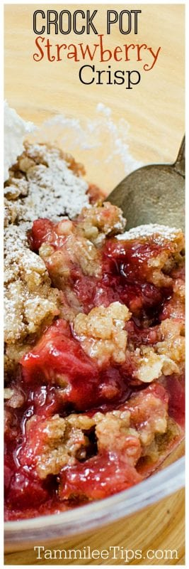 Super easy slow cooker crock pot strawberry crisp recipe with ginger! The perfect summer dessert!