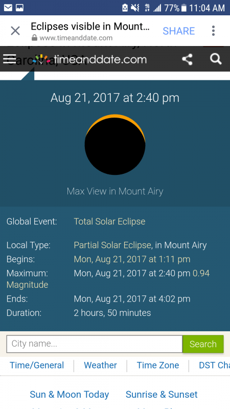 Solar Eclipse Mount Airy